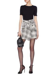 ALEXANDER WANG  系结格纹不对称粗花呢短裙