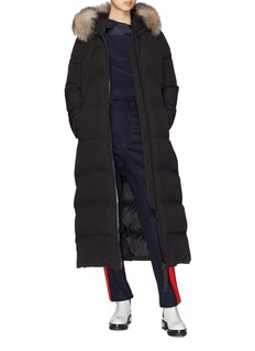 Moncler 皮毛边饰绗缝长款连帽羽绒大衣