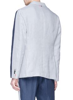 THOM BROWNE 拼色设计亚麻西服外套