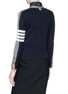 THOM BROWNE 条纹点缀拼色设计针织外套