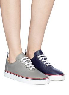 THOM BROWNE 拼色设计荔枝纹真皮运动鞋