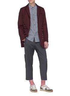JOHNUNDERCOVER 罗缎条纹褶裥羊毛露踝裤