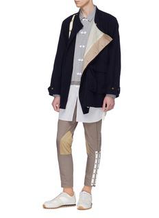 JOHNUNDERCOVER 拼贴细节拉链褶裥长裤