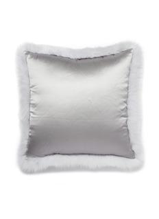 FRETTE 狐毛真丝缎面方形靠垫套-浅灰色