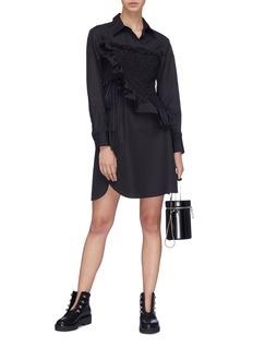 3.1 PHILLIP LIM 荷叶边褶裥系带不对称纯棉衬衫裙