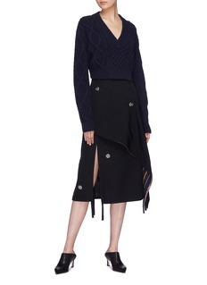 3.1 PHILLIP LIM 搭叠布饰流苏点缀不对称羊毛半身裙