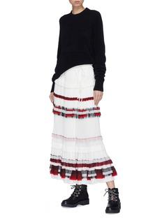 3.1 PHILLIP LIM 拼色条纹荷叶边仿包裹式百褶半身裙