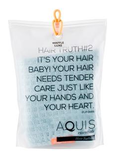 AQUIS 头发专用格纹浴巾-蓝色