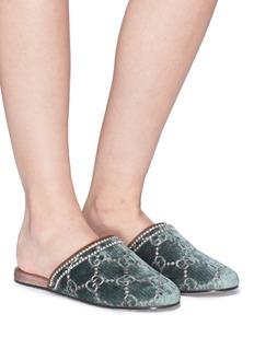 GUCCI GG品牌标志天鹅绒拖鞋