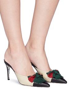 GUCCI 拼色蝴蝶结真皮高跟穆勒鞋