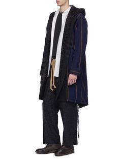 UMA WANG  Paul拼接设计初剪羊毛连帽鱼尾派克大衣