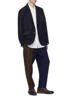 UMA WANG  James暗格纹口袋初剪羊毛混苎麻西服夹克