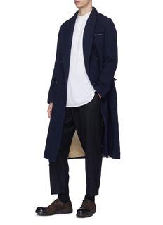 UMA WANG  Riccardo双排扣皱感长款大衣
