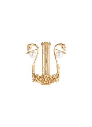 首图 - 点击放大 - CENTAURI LUCY - Musica Harp钻石Akoya珍珠18k金竖琴造型胸针