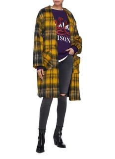 AMIRI 混马海毛及羊毛格纹长款外套