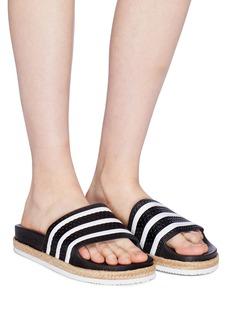 ADIDAS Adilette Bold麻编鞋底三重条纹纹理拖鞋