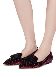 JIMMY CHOO Gala蝴蝶结闪粉天鹅绒尖头乐福鞋