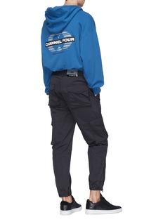 D.TT.K CHANNEL FOUR标志纯棉连帽外套