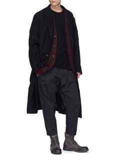 ZIGGY CHEN 拼接设计枪驳领羊毛斜纹布大衣