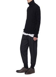 ZIGGY CHEN 不对称裤腰锥形混羊毛长裤