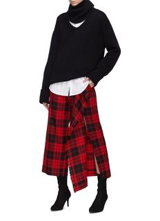 MONSE 搭叠布饰拼接羊毛格纹露踝裤