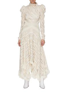 ZIMMERMANN 蕾丝及雪纺条纹垂坠半裙