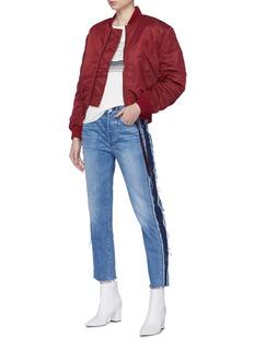 3x1 W3 Cora Crop须边侧条纹高腰直脚露踝牛仔裤