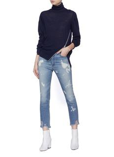 3x1 W4 Colette Silm Crop泼墨磨破高腰修身露踝牛仔裤