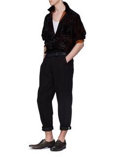 HAIDER ACKERMANN 植绒棕榈树叶纹理绒面衬衫