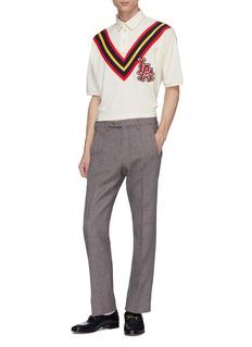 GUCCI x Major League Baseball LA刺绣徽章拼色条纹polo衫