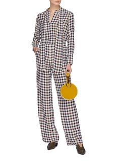 EQUIPMENT Arwen拼色格纹真丝高腰长裤