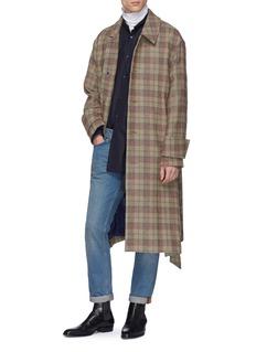 WOOYOUNGMI 腰带格纹混羊毛大衣
