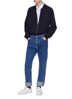 WOOYOUNGMI 插肩袖品牌名称刺绣混羊毛夹克