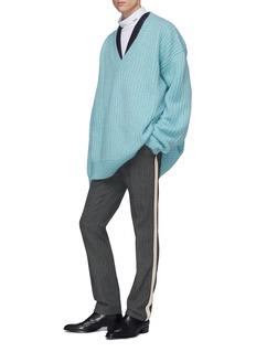 Calvin Klein 205W39NYC 侧条纹格纹混初剪羊毛长裤