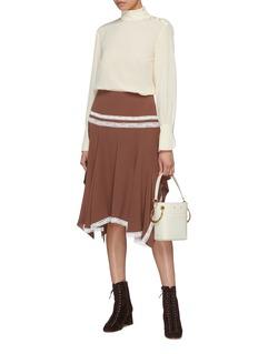 CHLOÉ 蕾丝条纹真丝垂坠半裙