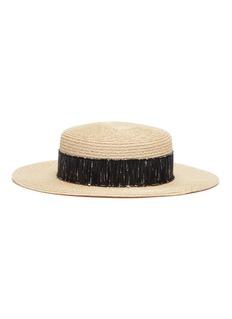 Eugenia Kim Brigitte毛圈花式线帽带编织草帽