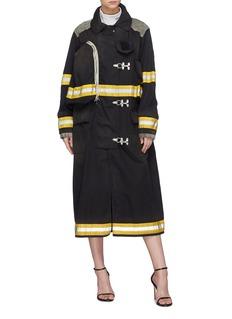Calvin Klein 205W39NYC Firefighter金属钩扣拼接绒面小牛皮大衣