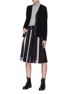 SACAI 拼接设计包裹式条纹百褶半裙