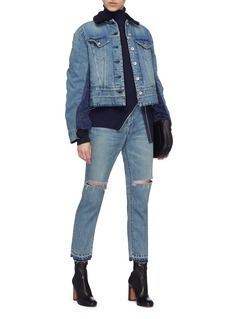 SACAI 皮毛一体衣领拼接设计牛仔夹克