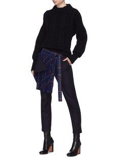 SACAI 格纹百褶布饰包裹羊毛露踝裤
