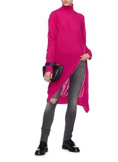 SACAI 高领侧开襟羊毛针织连衣裙