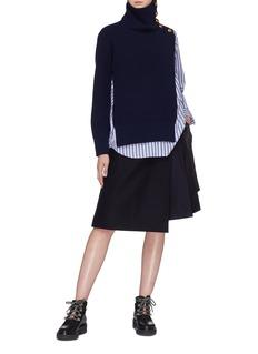 SACAI 拼接设计羊毛麦尔登半裙
