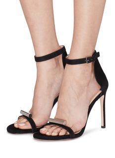 STUART WEITZMAN Cylinder金属圆柱缀饰搭带绒面真皮凉鞋