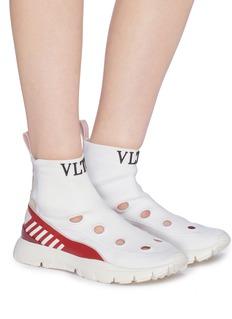 Valentino Heroes品牌名称真皮拼接孔眼袜式运动鞋