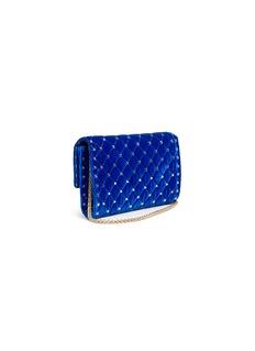 Valentino Rockstud Spike金属铆钉绗缝天鹅绒链条钱包