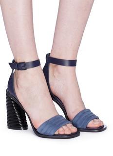 MERCEDES CASTILLO Hiru绒面真皮绗缝搭带粗跟凉鞋