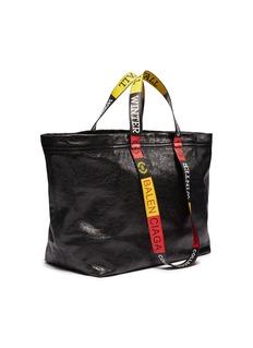 BALENCIAGA 品牌名称拼色手提带中号托特包