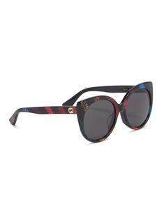 GUCCI 彩虹闪粉条纹猫眼太阳眼镜