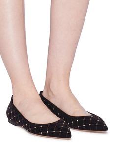 Valentino Rockstud铆钉绗缝天鹅绒平底鞋