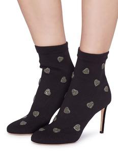 Valentino 仿水晶爱心点缀高跟针织袜靴